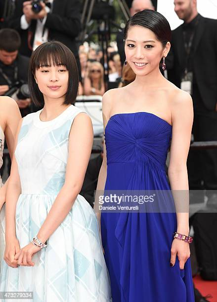 Suzu Hirose and Kaho attend the 'Umimachi Diary' Premiere during the 68th annual Cannes Film Festival on May 14 2015 in Cannes France