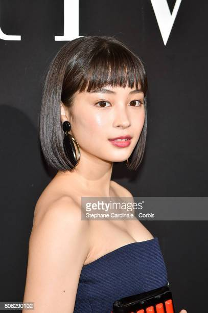Suzu Hirose attends the Giorgio Armani Prive Haute Couture Fall/Winter 20172018 show as part of Haute Couture Paris Fashion Week on July 4 2017 in...