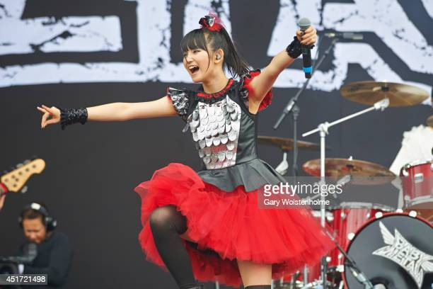 Suzuka Nakamoto of BABYMETAL performs on stage at Sonisphere at Knebworth Park on July 5 2014 in Knebworth United Kingdom