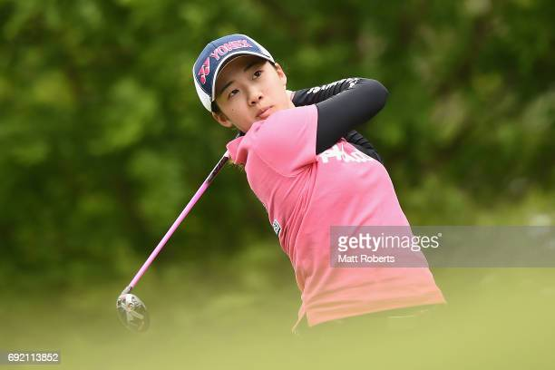 Suzuka Yamaguchi of Japan hits her tee shot on the 3rd hole during the final round of the Yonex Ladies Golf Tournament 2016 at the Yonex Country Club...