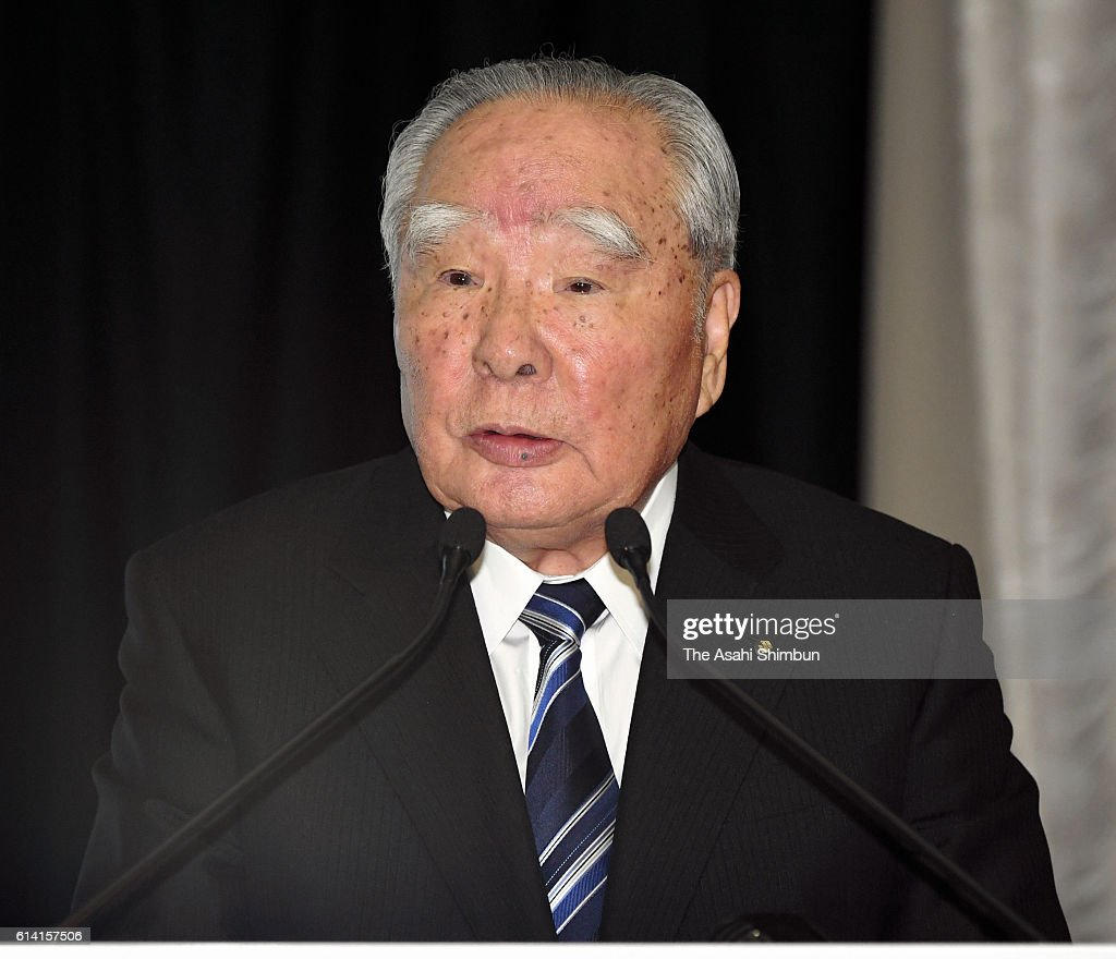 Suzuki Motor Co Chairman Osamu Suzuki speaks during a joint press conference at the Toyota's Tokyo headquarters on October 12, 2016 in Tokyo, Japan. Automakers are in discussion on business partnership in the environment, safety, and information technology fields.