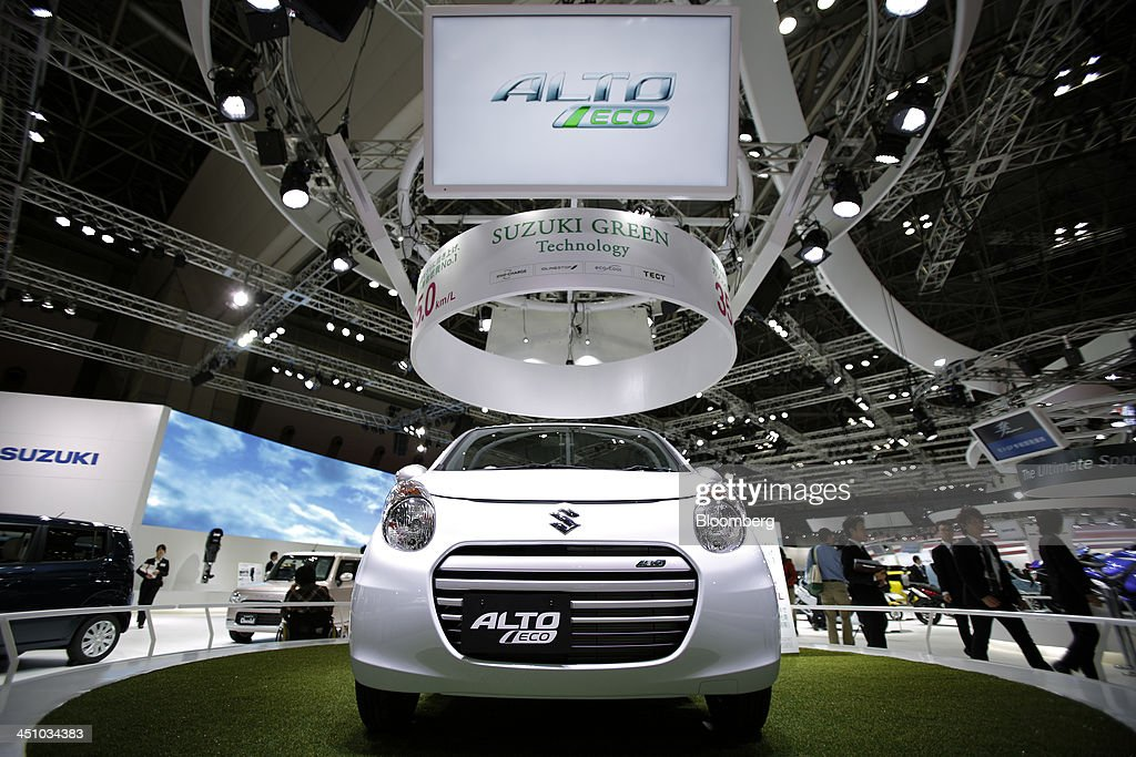 A Suzuki Motor Corp. Alto Eco vehicle sits on display at the 43rd Tokyo Motor Show 2013 in Tokyo, Japan, on Thursday, Nov. 21, 2013. The autoshow will be open to the public from Nov. 23 to Dec. 1 at the Tokyo International Exhibition Center, also known as the Tokyo Big Sight. Photographer: Kiyoshi Ota/Bloomberg via Getty Images