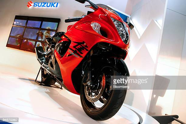 Suzuki Motor Corp's Hayabusa motorcycle is exhibited at the Auto Expo 2008 in New Delhi India on Thursday Jan 10 2008 Almost seven motorcycles are...
