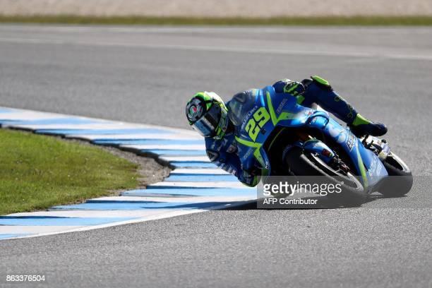 Suzuki rider Andrea Iannone of Italy negotiates a corner during the second practice session of the Australian MotoGP Grand Prix at Phillip Island on...