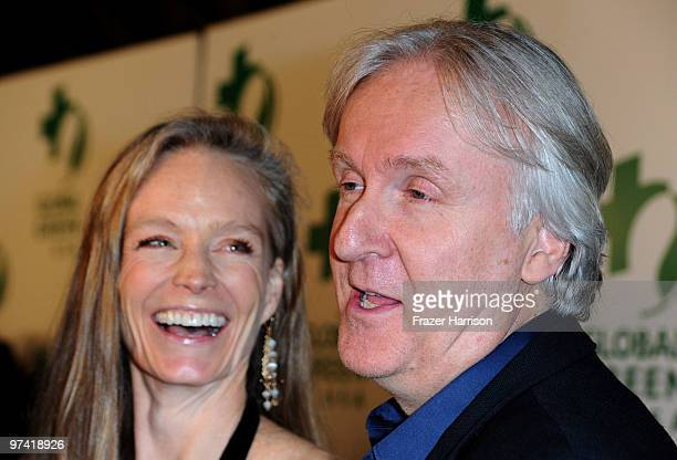 Suzy Amis Cameron and James Cameron director arrive at the 7th Annual Global Green USA PreOscar held at the Avalon on March 3 2010 in Hollywood...