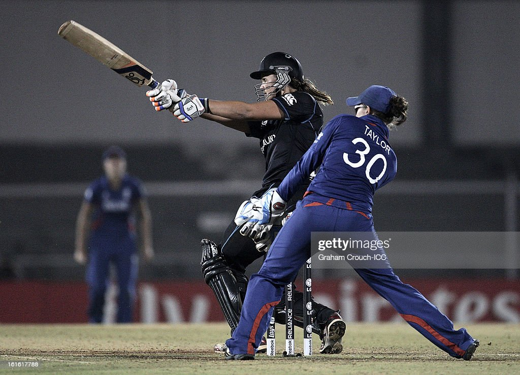 Suzy Bates of New Zealand batting during of the Super Sixes ICC Women's World Cup India 2013 match between New Zealand and England at the Cricket Club of India ground on February 13, 2013 in Mumbai, India.