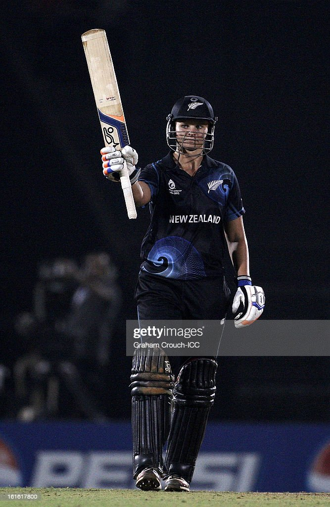 Suzy Bates of New Zealand celebrates after scoring 50 during of the Super Sixes ICC Women's World Cup India 2013 match between New Zealand and England at the Cricket Club of India ground on February 13, 2013 in Mumbai, India.