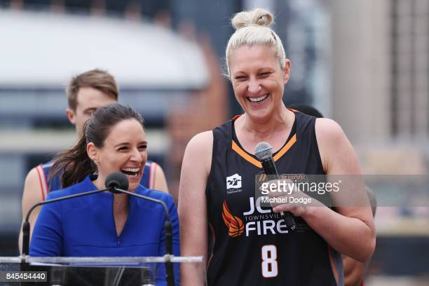 Suzy Batkovic Townsville Fire speaks on stage during the 2017/18 NBL and WNBL Season Launch at Crown Towers on September 11 2017 in Melbourne...