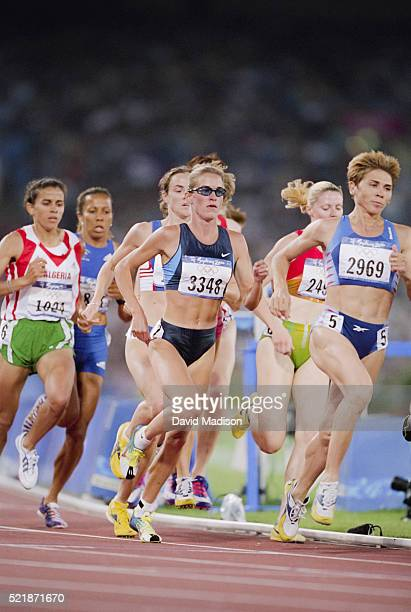 Suzy Favor Hamilton of the USA competes in the 1500 meter event of the Athletics competition of the 2000 Olympic Games held in September 2000 in the...