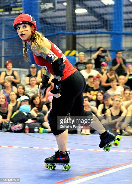 Suzy Hotrod of Gotham Girls Roller Derby All Stars during the London Rollergirls vs Gotham Girls Roller Derby All Stars bout at Futsal Arena on July...
