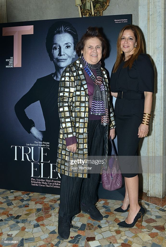 Suzy Menkes and Deborah Needleman attend Deborah Needleman's New York Times inaugural issue party during Milan Fashion Week Womenswear Fall/Winter 2013/14 on February 23, 2013 in Milan, Italy.