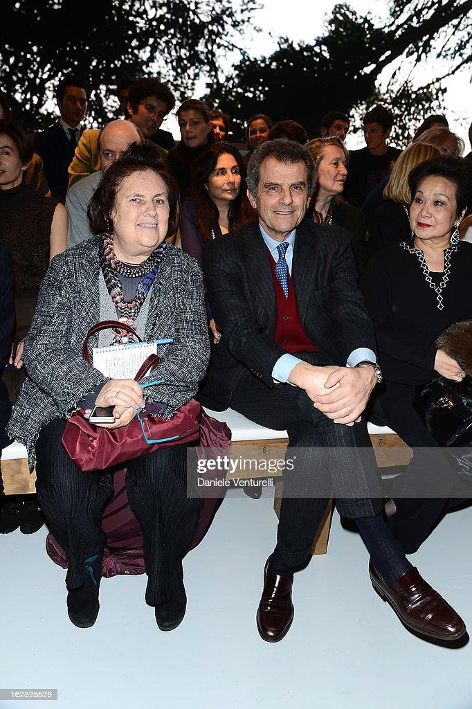 Suzy Menkes and Ferruccio Ferragamo attend the Salvatore Ferragamo fashion show as part of Milan Fashion Week Womenswear Fall/Winter 2013/14 on February 24, 2013 in Milan, Italy.
