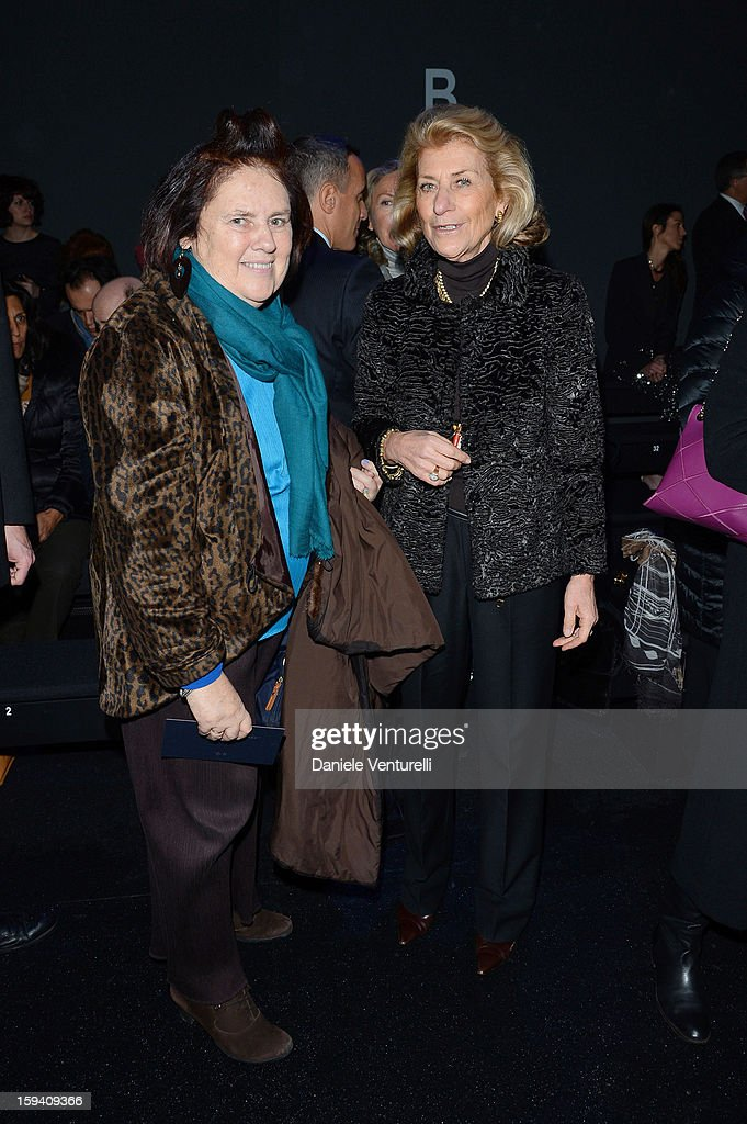 Suzy Menkes and Giovanna Gentile Ferragamo attend the Salvatore Ferragamo show as a part of Milan Fashion Week Menswear Autumn/Winter 2013 on January 13, 2013 in Milan, Italy.