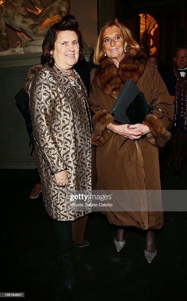 Suzy Menkes and Sibilla Della Gherardesca attend Ermanno Scervino fashion show as part of Pitti Immagine Uomo 83 at Palazzo Vecchio on January 9, 2013 in Florence, Italy.