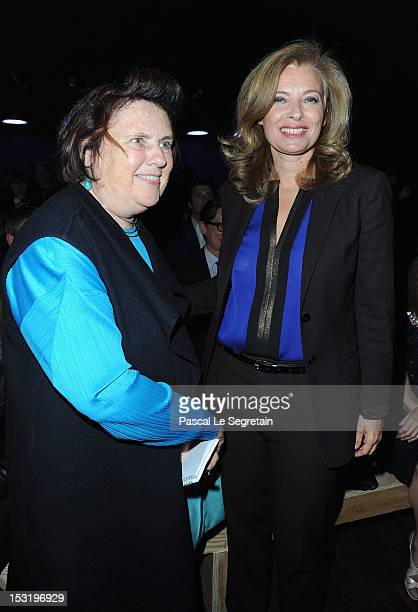 Suzy Menkes and Valerie Trierweiler attend the Saint Laurent Spring / Summer 2013 show as part of Paris Fashion Week on October 1 2012 in Paris France