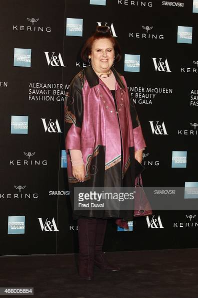 Suzy Menkes attends a private view for the 'Alexander McQueen Savage Beauty' exhibition at Victoria Albert Museum on March 12 2015 in London England