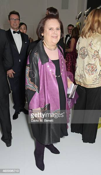 Suzy Menkes attends the Alexander McQueen Savage Beauty Fashion Gala at the VA presented by American Express and Kering on March 12 2015 in London...