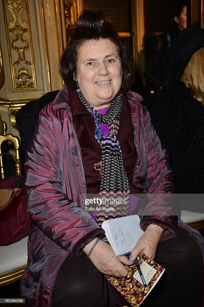 Suzy Menkes attends the Antonio Marras fashion show during Milan Fashion Week Womenswear Fall/Winter 2013/14 on February 21, 2013 in Milan, Italy.