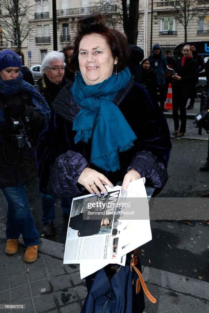 Suzy Menkes attends the Balenciaga Fall/Winter 2013 Ready-to-Wear show as part of Paris Fashion Week on February 28, 2013 in Paris, France.