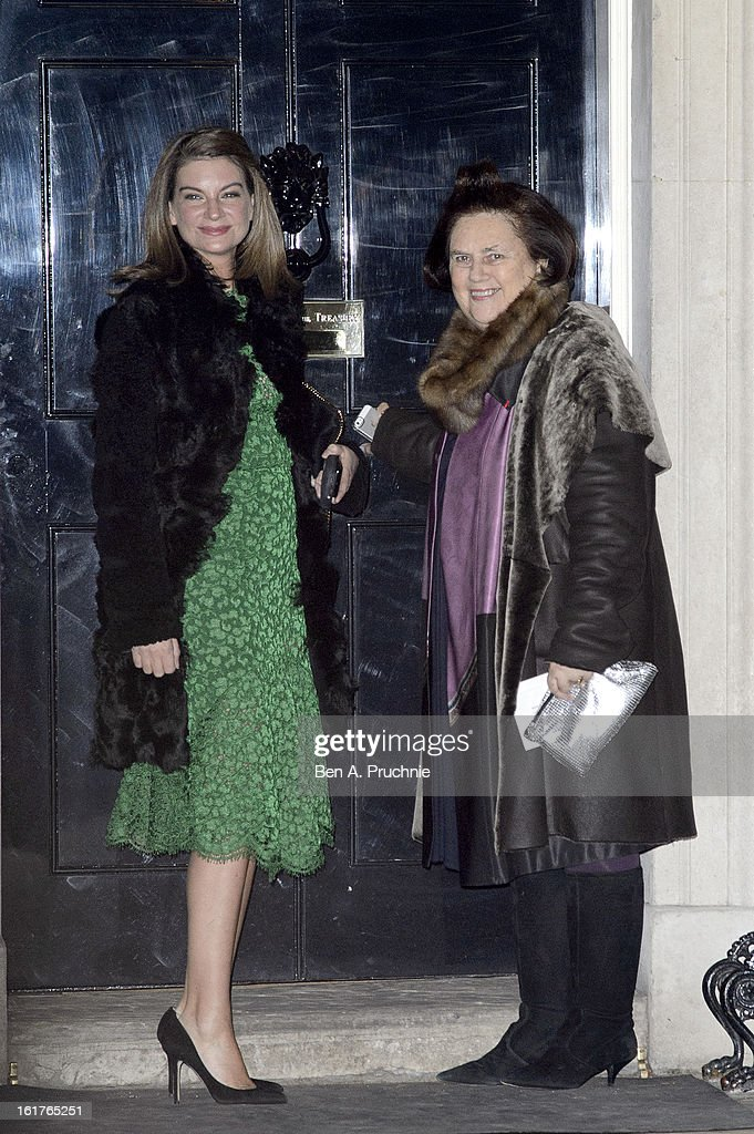 Suzy Menkes (R) attends the Downing Street reception during London Fashion Week Fall/Winter 2013/14 at 10 Downing Street on February 15, 2013 in London, England.