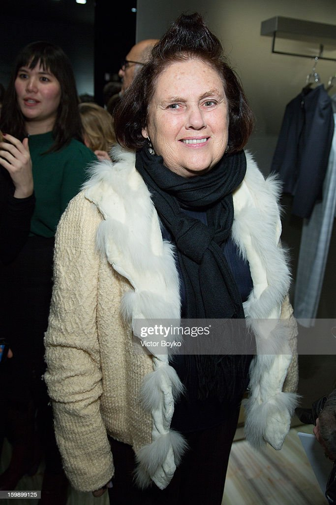 Suzy Menkes attends the Giorgio Armani Paris avenue Montaigne boutique opening on January 22, 2013 in Paris, France.