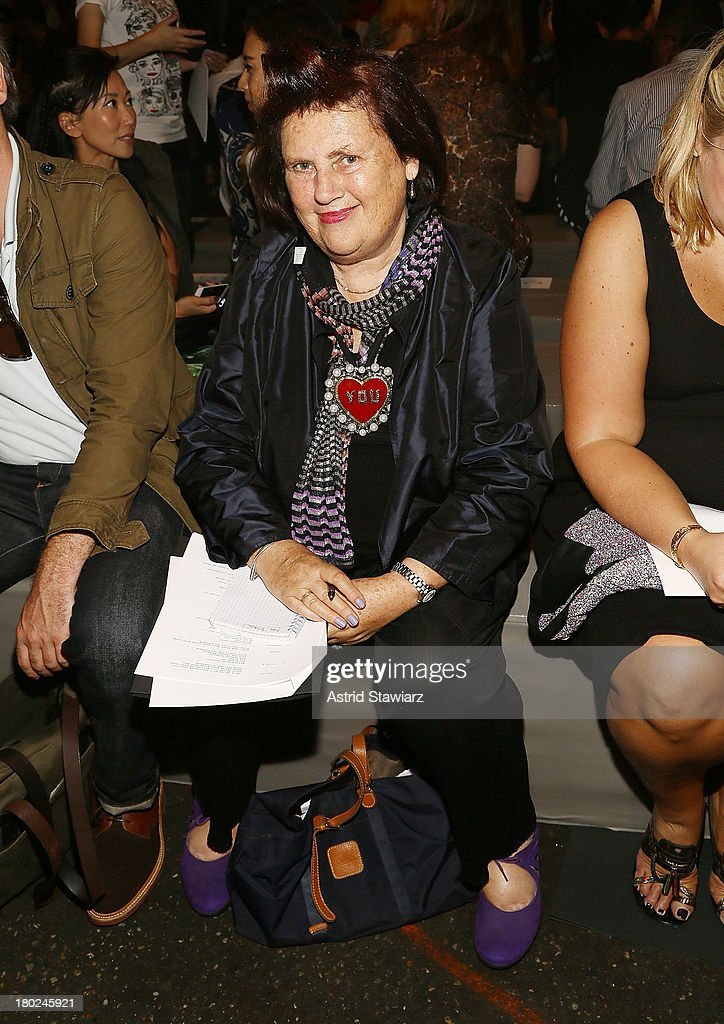 <a gi-track='captionPersonalityLinkClicked' href=/galleries/search?phrase=Suzy+Menkes&family=editorial&specificpeople=816435 ng-click='$event.stopPropagation()'>Suzy Menkes</a> attends the Marc By Marc Jacobs fashion show during Mercedes-Benz Fashion Week Spring 2014 at Pier 57 on September 10, 2013 in New York City.