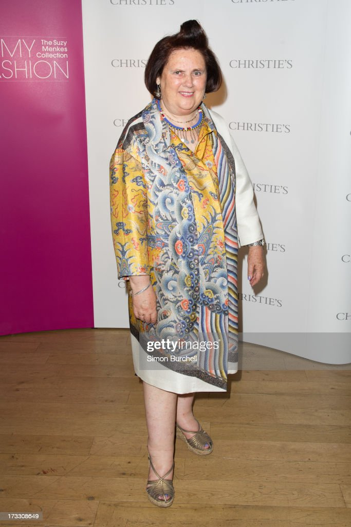 <a gi-track='captionPersonalityLinkClicked' href=/galleries/search?phrase=Suzy+Menkes&family=editorial&specificpeople=816435 ng-click='$event.stopPropagation()'>Suzy Menkes</a> attends the private view of The <a gi-track='captionPersonalityLinkClicked' href=/galleries/search?phrase=Suzy+Menkes&family=editorial&specificpeople=816435 ng-click='$event.stopPropagation()'>Suzy Menkes</a> Collection: In My Fashion at Christie's on July 11, 2013 in London, England.