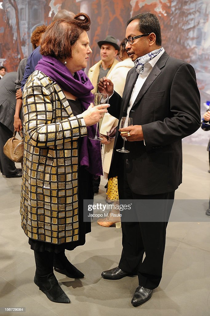 Suzy Menkes, International Herald Tribune Fashion Editor, and Ashok Som, ESSEC Professor and Associate Dean, attend the closing drinks at the Gagosian Gallery during the third day of the 2012 International Herald Tribune's Luxury Business Conference held at Rome Cavalieri on November 16, 2012 in Rome, Italy. The 12th annual IHT Luxury conference is the premier meeting point for the luxury industry. 500 delegates from 30 countries have gathered in Rome to hear from the world's most inspirational fashion designers and luxury business leaders.