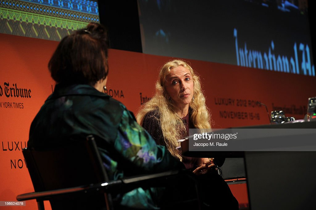 Suzy Menkes, International Herald Tribune Fashion Editor, and Franca Sozzani, Editor-in-Chief of Vogue Italia, speak during the third day of the 2012 International Herald Tribune's Luxury Business Conference held at Rome Cavalieri on November 16, 2012 in Rome, Italy. The 12th annual IHT Luxury conference is the premier meeting point for the luxury industry. 500 delegates from 30 countries have gathered in Rome to hear from the world's most inspirational fashion designers and luxury business leaders.