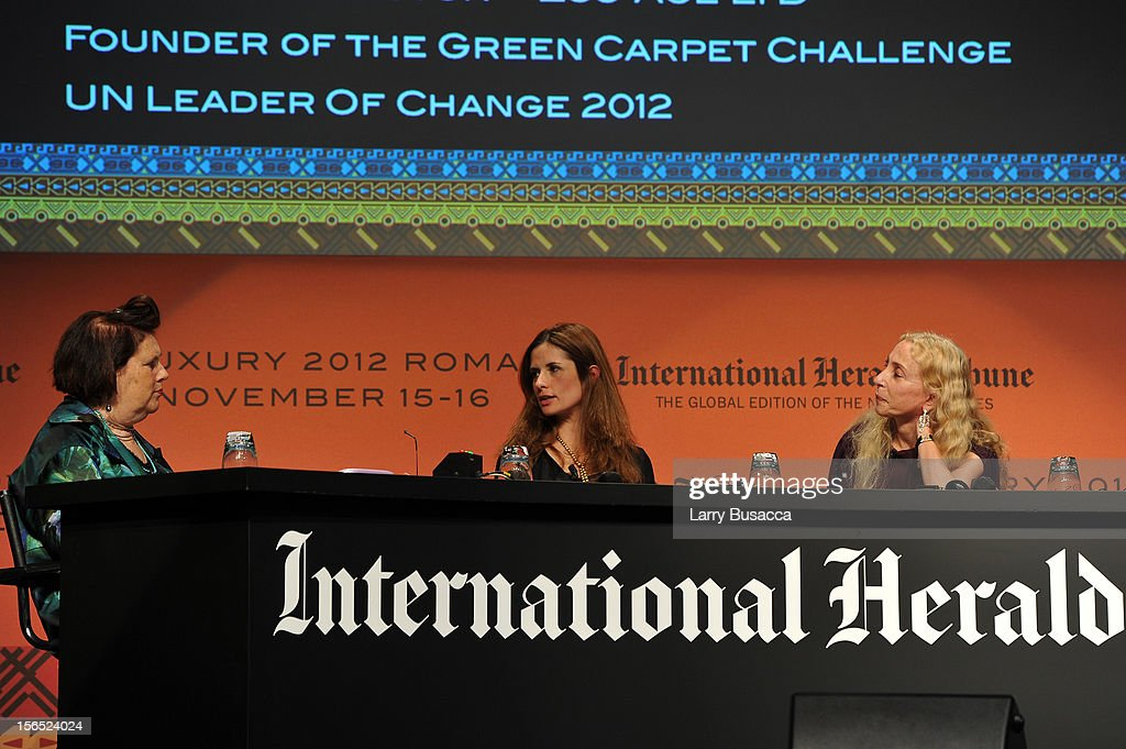 Suzy Menkes, International Herald Tribune Fashion Editor, Livia Firth, Eco Age Creative Director, and Franca Sozzani, Editor-in-Chief of Vogue Italia, speak during the third day of the 2012 International Herald Tribune's Luxury Business Conference held at Rome Cavalieri on November 16, 2012 in Rome, Italy. The 12th annual IHT Luxury conference is the premier meeting point for the luxury industry. 500 delegates from 30 countries have gathered in Rome to hear from the world's most inspirational fashion designers and luxury business leaders.