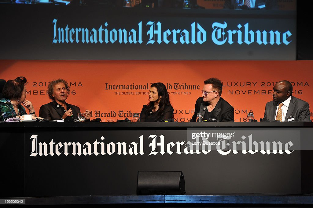 Suzy Menkes, International Herald Tribune Fashion Editor, Renzo Rosso, Diesel Founder, Alison Hewson, Bono and Erastus Kibugu of TechnoServe, speak during the third day of the 2012 International Herald Tribune's Luxury Business Conference held at Rome Cavalieri on November 16, 2012 in Rome, Italy. The 12th annual IHT Luxury conference is the premier meeting point for the luxury industry. 500 delegates from 30 countries have gathered in Rome to hear from the world's most inspirational fashion designers and luxury business leaders.