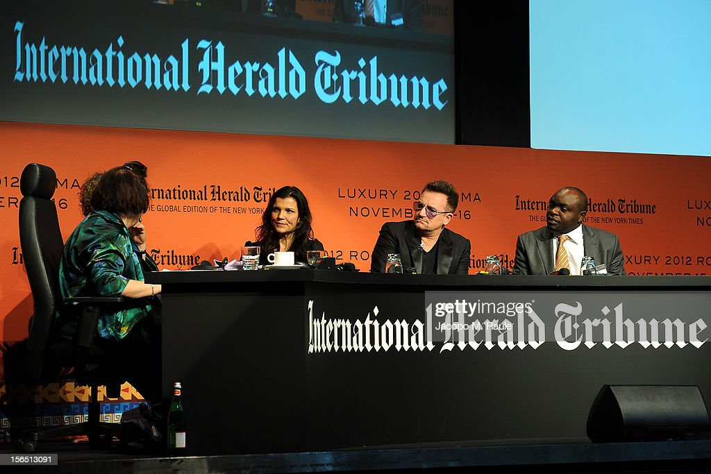 Suzy Menkes, International Herald Tribune Fashion Editor, Renzo Rosso, Diesel Founder, Alison Hewson, Bono and Erastus Kibugu of TechnoServe speak during the third day of the 2012 International Herald Tribune's Luxury Business Conference held at Rome Cavalieri on November 16, 2012 in Rome, Italy. The 12th annual IHT Luxury conference is the premier meeting point for the luxury industry. 500 delegates from 30 countries have gathered in Rome to hear from the world's most inspirational fashion designers and luxury business leaders.