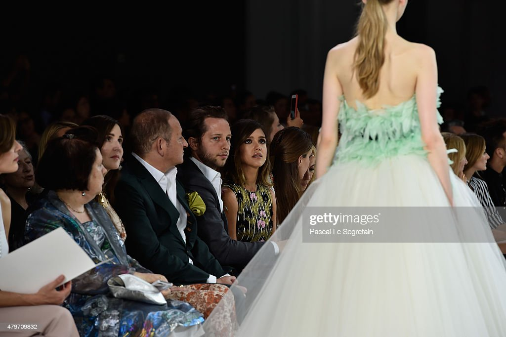 Suzy Menkes John Demsey Derek Blasberg and Jessica Alba attend the Giambattista Valli show as part of Paris Fashion Week Haute Couture Fall/Winter...