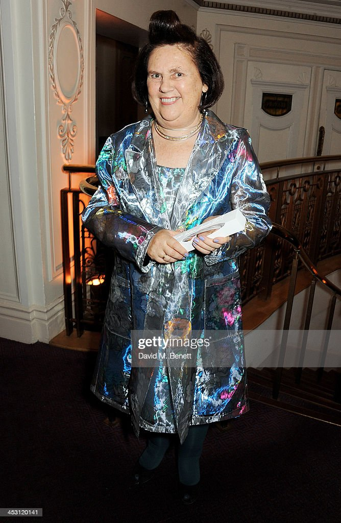 Suzy Menkes, winnner of the Special Recognition Award, poses at the British Fashion Awards 2013 at London Coliseum on December 2, 2013 in London, England.