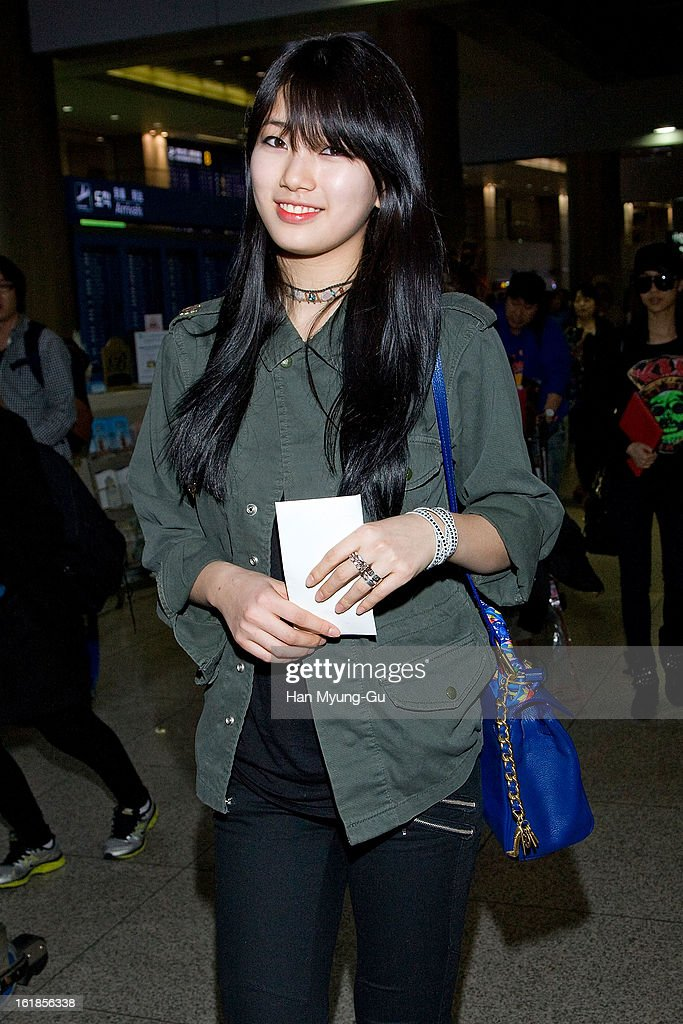 Suzy of girl group Miss A is seen at Incheon International Airport on February 17, 2013 in Incheon, South Korea.