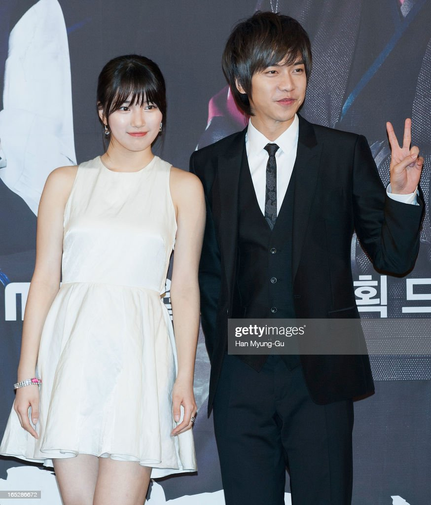 Suzy of South Korean girl group Miss A and actor and singer Lee Seung-Gi attend the MBC Drama 'Goo Family's Secret' Press Conference at 63 Building on April 2, 2013 in Seoul, South Korea. The drama will open on April 08 in South Korea.