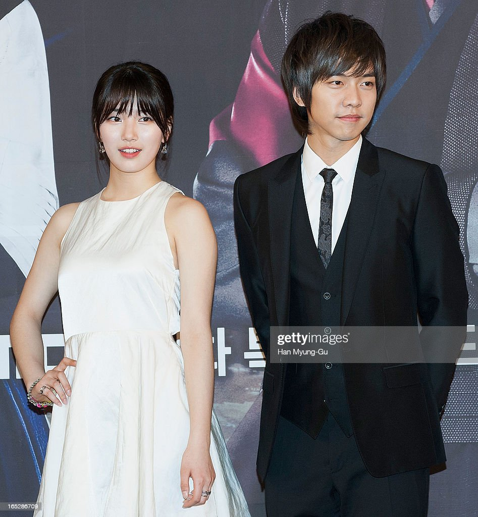 Suzy of South Korean girl group Miss A and actor and singer <a gi-track='captionPersonalityLinkClicked' href=/galleries/search?phrase=Lee+Seung-Gi+-+Actor&family=editorial&specificpeople=7414427 ng-click='$event.stopPropagation()'>Lee Seung-Gi</a> attend the MBC Drama 'Goo Family's Secret' Press Conference at 63 Building on April 2, 2013 in Seoul, South Korea. The drama will open on April 08 in South Korea.