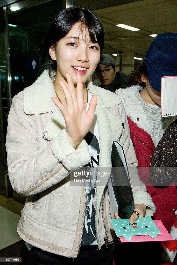 Suzy of South Korean girl group Miss A is seen at Gimpo International Airport on February 4, 2013 in Seoul, South Korea.