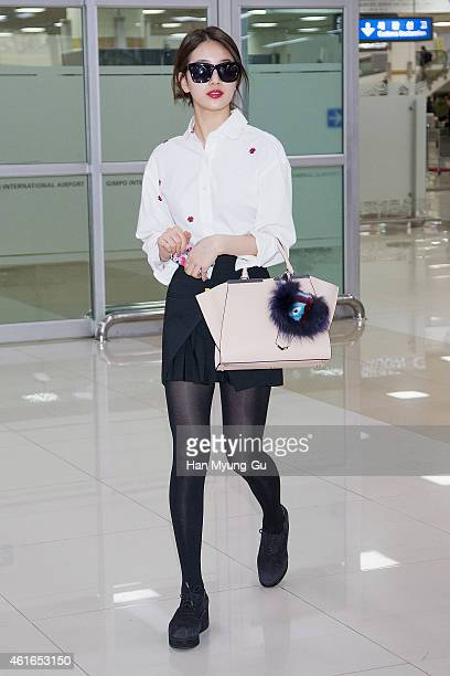 Suzy of South Korean girl group Miss A is seen upon arrival at Gimpo International Airport on January 16 2015 in Seoul South Korea