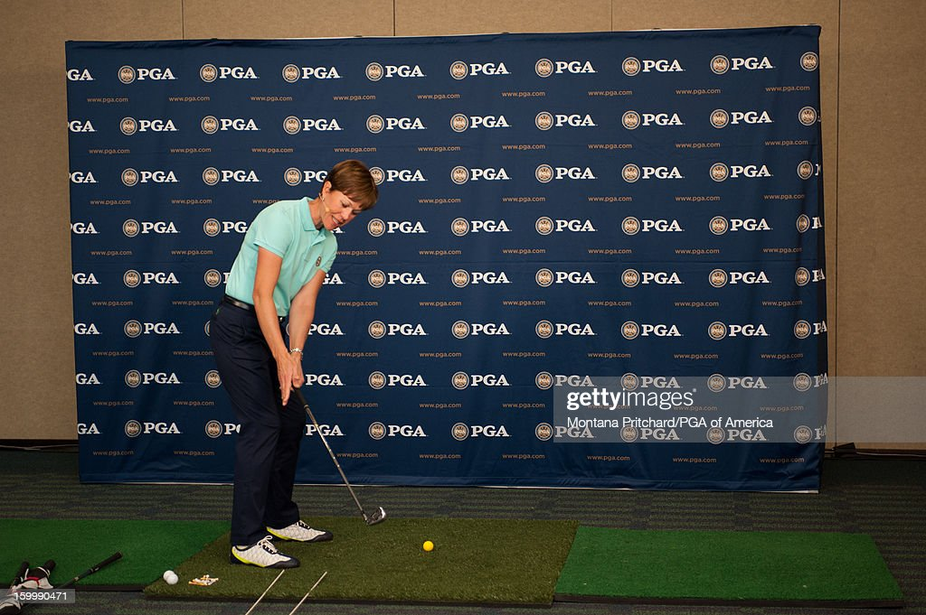 Suzy Whaley performs a demonstration during the PGA Golf Tips Hotline at the 60th PGA Merchandise Show on January 24, 2013 at The Orange County Convention Center in Orlando, Florida.