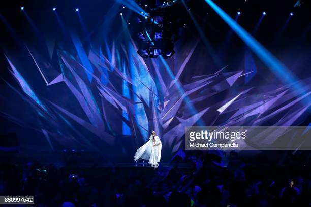 Svala representing Iceland performs the song 'Paper' during the first semi final of the 62nd Eurovision Song Contest at International Exhibition...