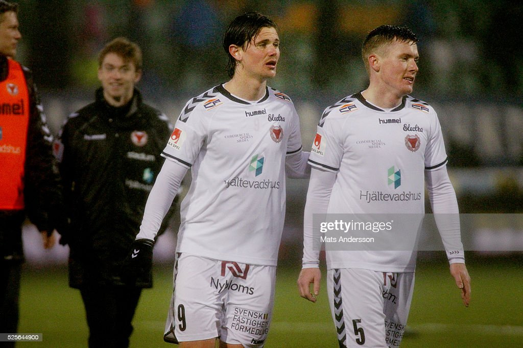 Svante Inglesson of Kalmar FF and Viktor Agardius of Kalmar FF during the Allsvenskan match between GIF Sundsvall and Kalmar FF at Norrporten Arena on April 28, 2016 in Sundsvall, Sweden.