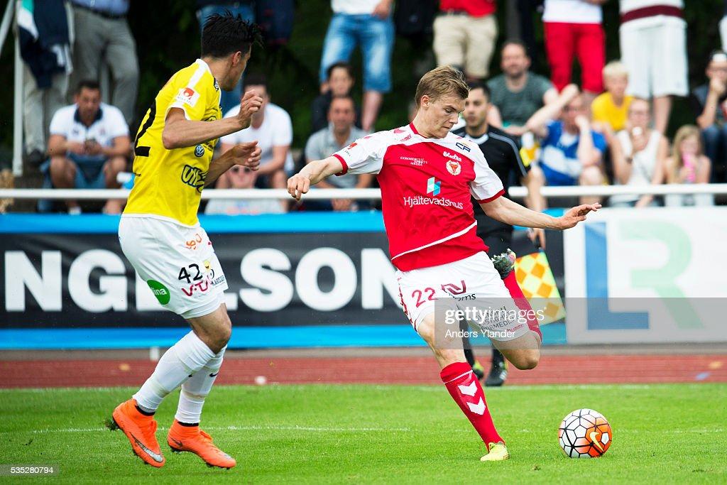 Svante Inglesson of Kalmar FF shoots during the Allsvenskan match between Falkenbergs FF andKalmar FF at Falkenbergs IP on May 29, 2016 in Falkenberg, Sweden.
