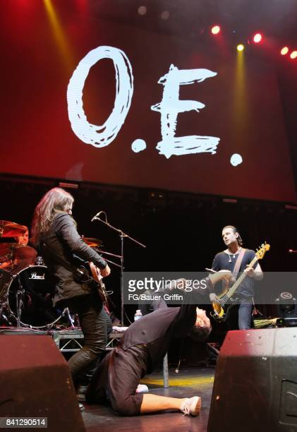 Svatoslav Vakarachuk Denis Dudko Denis Glinin and Vladimir Opsenica of the band Okean Enzy perform at the Avalon Hollywood on March 13 2017 in Los...