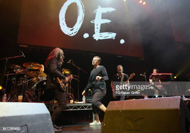 Svatoslav Vakarachuk Denis Dudko Denis Glinin Vladimir Opsenica and Milos Jelic of the band Okean Enzy perform at the Avalon Hollywood on March 13...