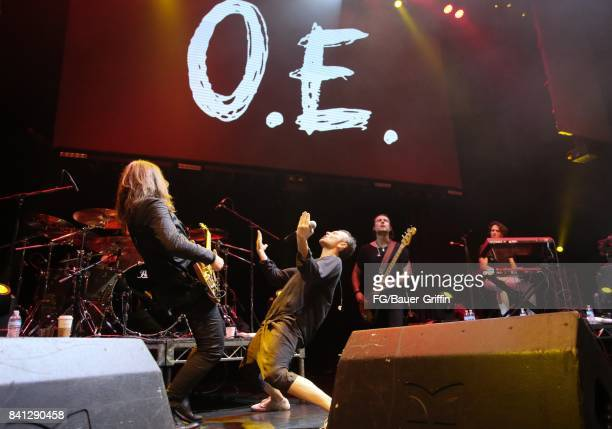Svatoslav Vakarachuk Denis Dudko Vladimir Opsenica and Milos Jelic of the band Okean Enzy perform at the Avalon Hollywood on March 13 2017 in Los...