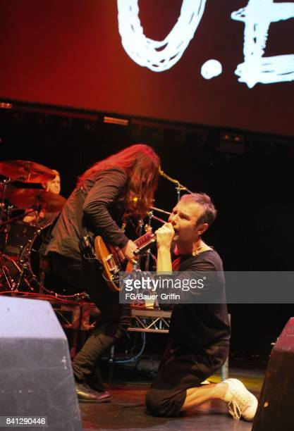 Svatoslav Vakarachuk Denis Glinin and Vladimir Opsenica of the band Okean Enzy perform at the Avalon Hollywood on March 13 2017 in Los Angeles...