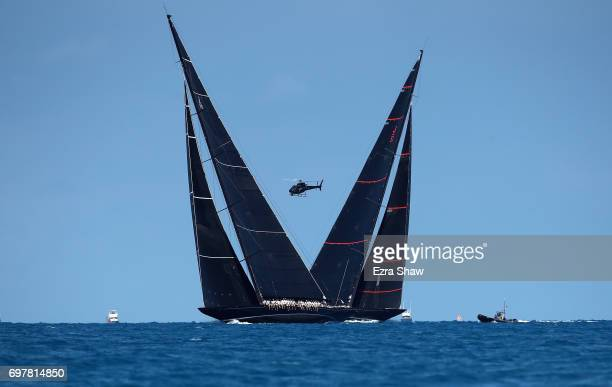 Svea crosses paths with Lionheard during the America's Cup J Class Regatta on June 19 2017 in Hamilton Bermuda