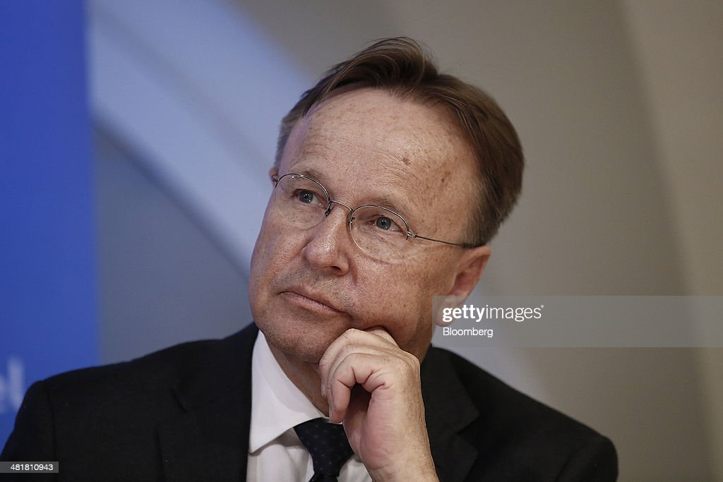 Svein Andresen, secretary general of the Financial Stability Board (FSB), pauses during a news conference after the board's plenary meeting at the Bank of England in London, U.K., on Monday, March 31, 2014. Moving toward a common set of bank resolution rules is one of the key issues when the Financial Stability Board meets in London today, as the club of central bankers and regulators seeks to complete its mission of avoiding a repeat of the turmoil that followed the 2008 collapse of Lehman Brothers Holdings Inc. Photographer: Simon Dawson/Bloomberg via Getty Images