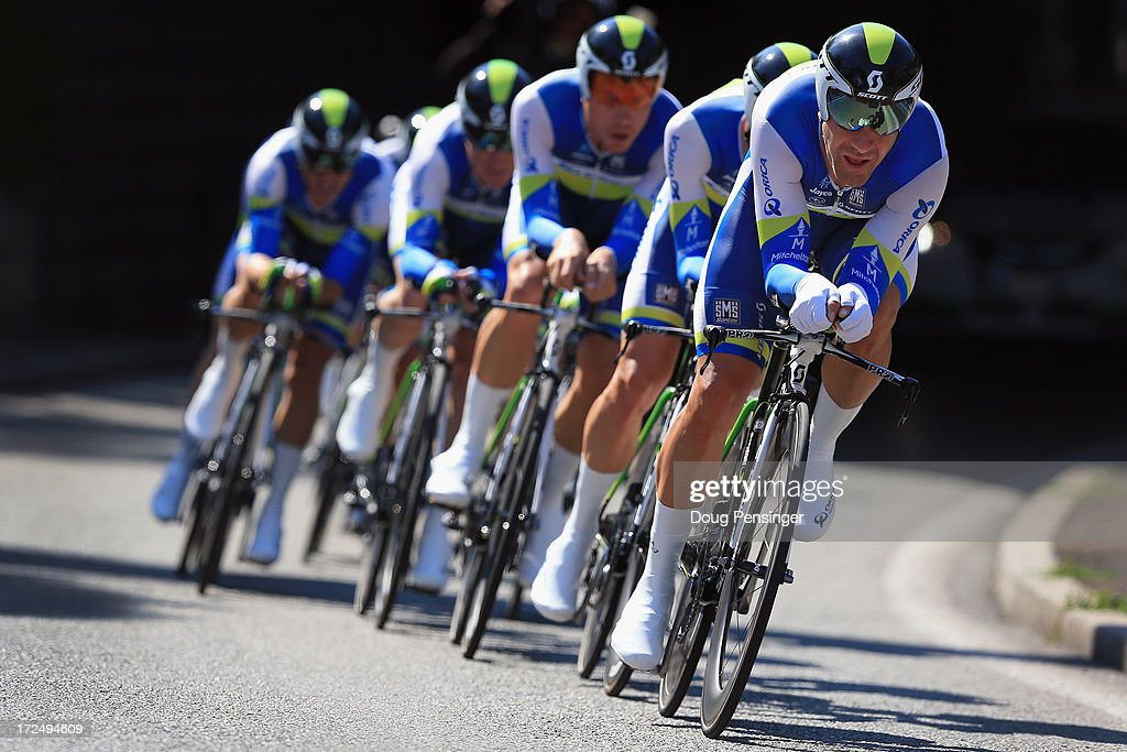<a gi-track='captionPersonalityLinkClicked' href=/galleries/search?phrase=Svein+Tuft&family=editorial&specificpeople=797693 ng-click='$event.stopPropagation()'>Svein Tuft</a> of Canada leads Team Orica-GreenEdge in team time trial during stage four of the 2013 Tour de France, a 25KM Team Time Trial on July 2, 2013 in Nice, France. Orica-GreenEdge won the stage and Simon Gerrans of Australia earned the overall race leader's yellow jersey.